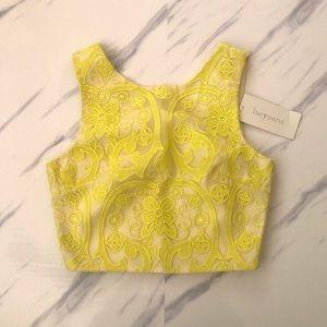 Lucy Paris Lace Shell Crop Top sz S Neon
